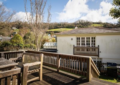 The decked patio & barbecue area at Hamilton House, Branscombe