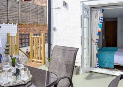 The patio at Harbour Hideaway, Ilfracombe