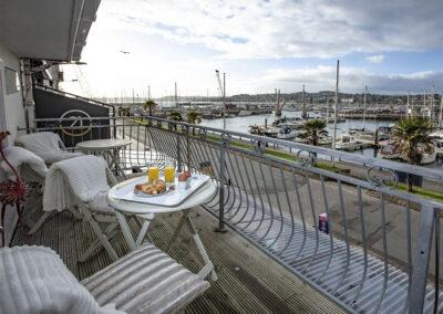The balcony at Harbour Lights, Torquay overlooking marina & sea views