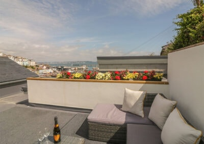 The large outdoor terrace sun trap at Harbour View Retreat, Brixham