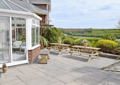 The patio at Heybrook Court, Newquay