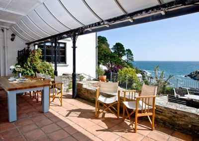 The outside dining area @ Higher Shute, Looe