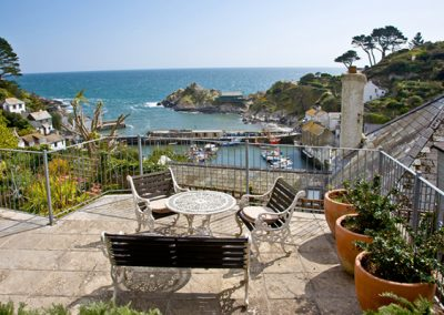 The terace offers stunning views @ Higher Shute, Looe