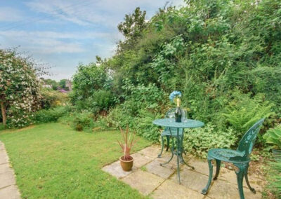 The patio & garden at Holwell Farm Wing, Parracombe