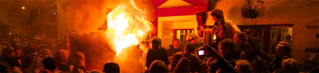 November 5th is traditionally celebrated with bonfires and fireworks. Ottery St Mary goes one better with rock cannons and Flaming Tar Barrels.
