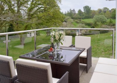 The balcony at Honey Pippin, Horselake Farm Cottages, Cheriton Bishop