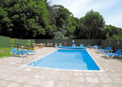 The shared swimming pool at Honey Pippin, Horselake Farm Cottages, Cheriton Bishop