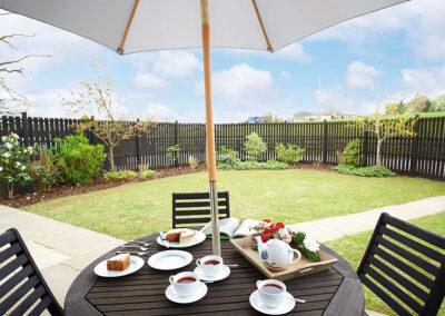 The patio & garden at Hunters Moon, Feniton