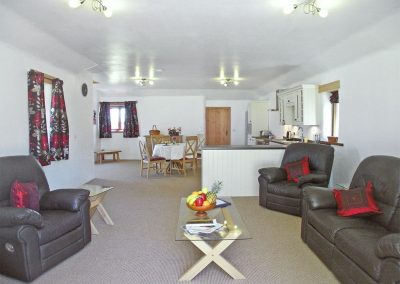 The living area at Kettle's On, Higher Churchtown Farm, Tresmeer