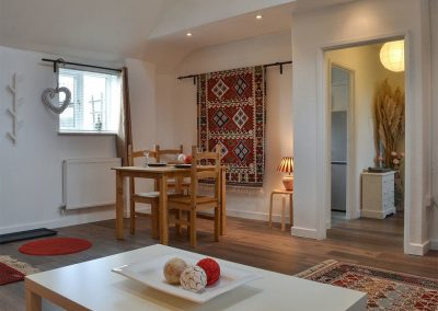 The open plan living & dining room at Lambs Cottage, Haydon Farm, Blackborough