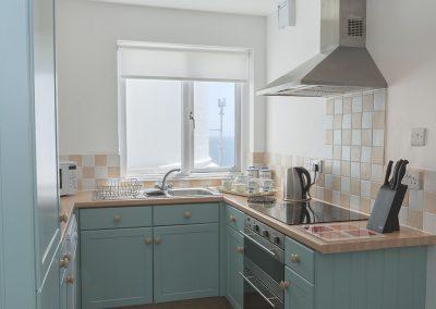 The kitchen at Landward Cottage, Start Point Lighthouse, Start Point