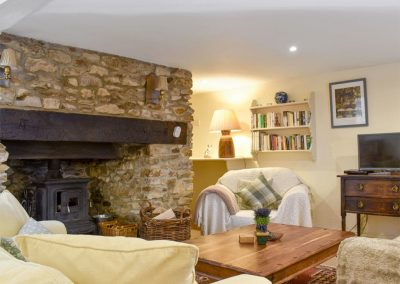 The living area at Lavender Cottage, Snodwell Farm, Cotleigh