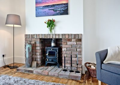 The living area at Lighthouse View, Brixham