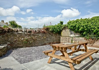 The patio at Lighthouse View, Brixham