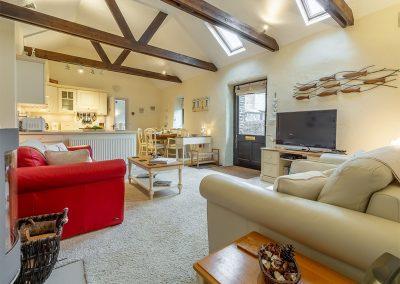 The living area at Little Gull, Roserrow, Polzeath