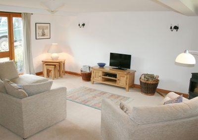 The living area at Little Shelvin Farm Cottage, Luppitt