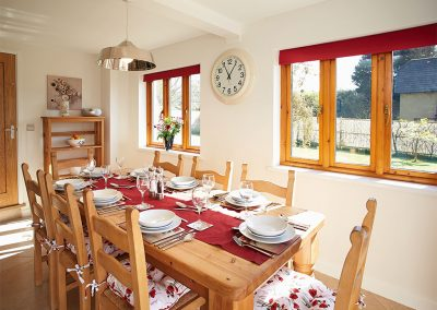 The dining area at Long Meadow Barn, Down St Mary