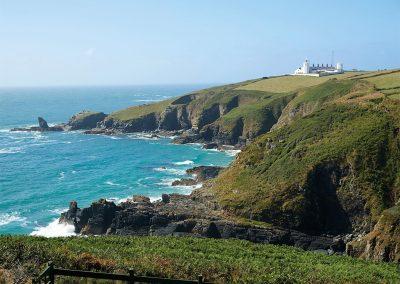 The green countryside & coastal paths surrounding Longships, Lizard Lighthouse, Lizard