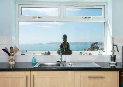 The kitchen at Looe Island View, Downderry