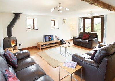 The living area at Harvest Moon, Lower Curscombe Barn, Feniton