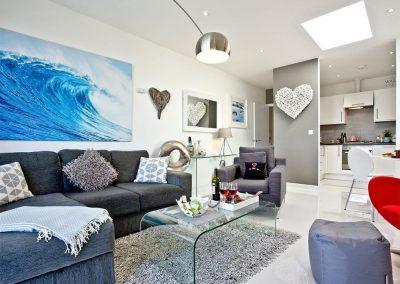 The living area at Luna Blue, Tre Lowen, Newquay