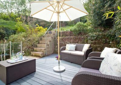The sun deck  & garden at Mallock, Cockington Cottages, Cockington
