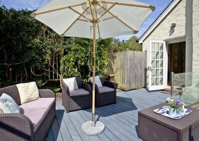 The sun deck at Mallock, Cockington Cottages, Cockington