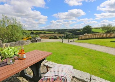 The patio & garden at Marhayes, Camelford