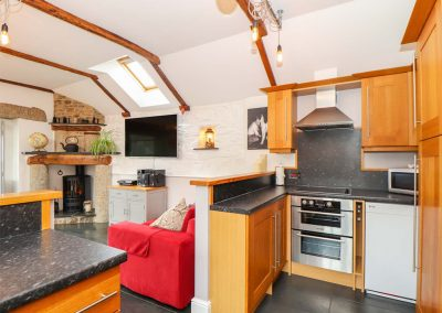 The kitchen at Meadowview Cottage, Trelash