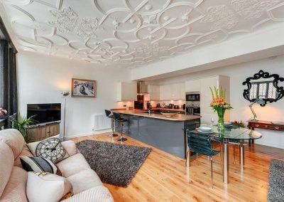 The open-plan living area at Merchants Rest, Dartmouth