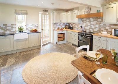 The kitchen at Merlins Cottage, Trevellick
