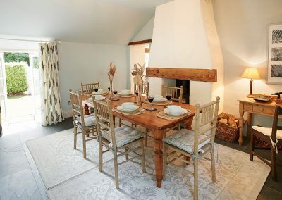 The dining area at Mews Cottage, Bonython Estate, Cross Lanes