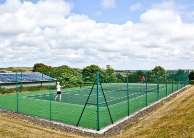 The tennis court at Wooda Farm, Bush