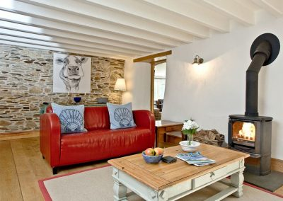 The second living area at Mowhay Barn, St Ervan