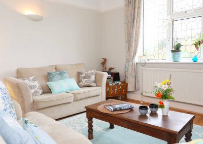 The living area at Muddykins Cottage, Muddiford
