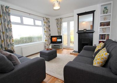 The living area at Neptune Sky Villa, St Ives