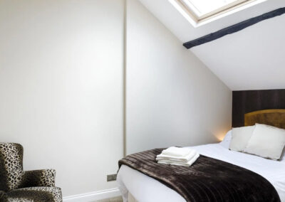One of the ten bedrooms at Newport Manor, Newport