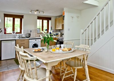 The dining area at Nobbys Cottage, East Thorne, Kilkhampton