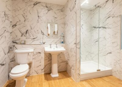 The shower room at Oh My Sea, Lynton