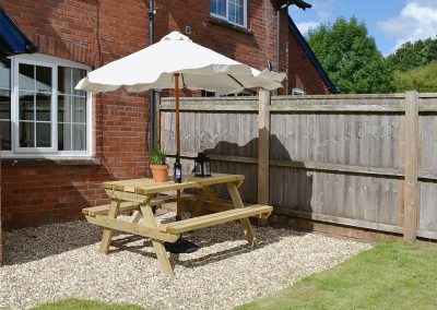 The patio at One Parkhayes, Woodbury Salterton