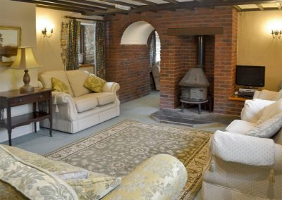 The first living area at Orchard Barn, Duvale Cottages, Bampton