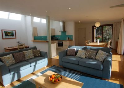 The open-plan living area at Orchard Retreat, Tipton St John