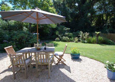 The patio & garden at Orchard Retreat, Tipton St John