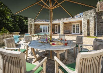 The decked patio at Oversteps House, Salcombe
