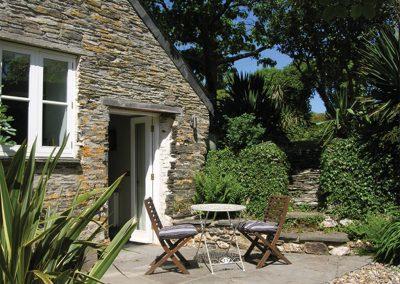 The patio at Owl House, Polmorla