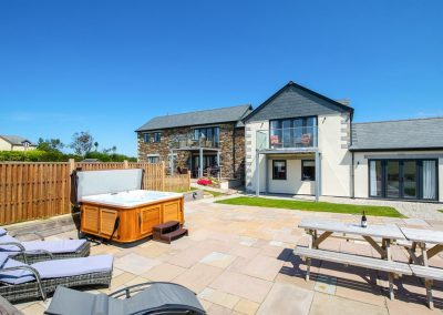 The sun terrace & hot tub at Padstow Country Barn, Trenance