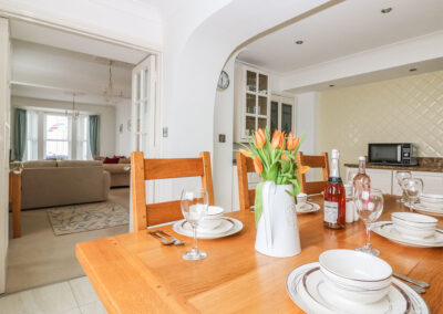 The dining area at Panoramic Cottage, Brixham
