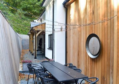 The patio at Peakaboo, Sidmouth