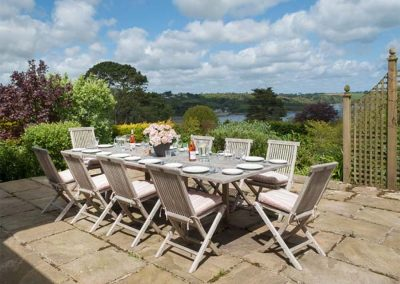 The outdoor patio at Penarvon House, Helford