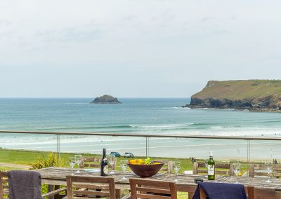 The fantastic sea views from the decked patio at Pentewan, Polzeath